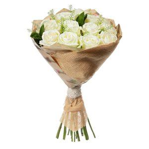 25 элитных белых роз доставка Хмельницкий