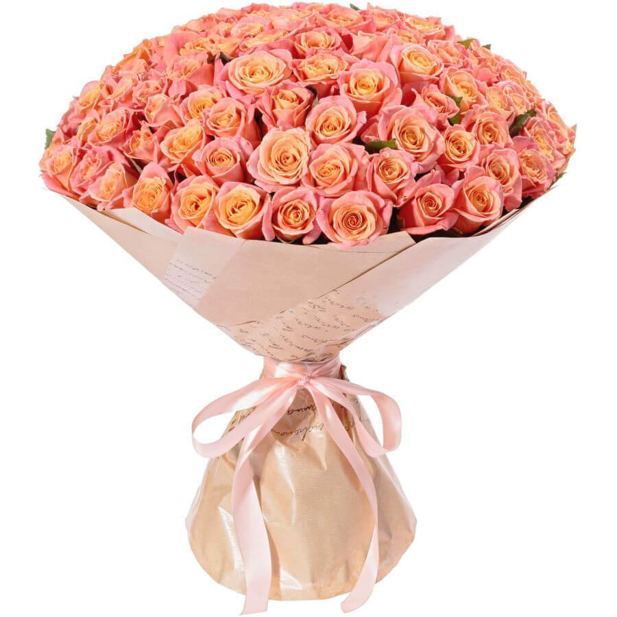 101 персиковая роза купить доставка в Хмельницком