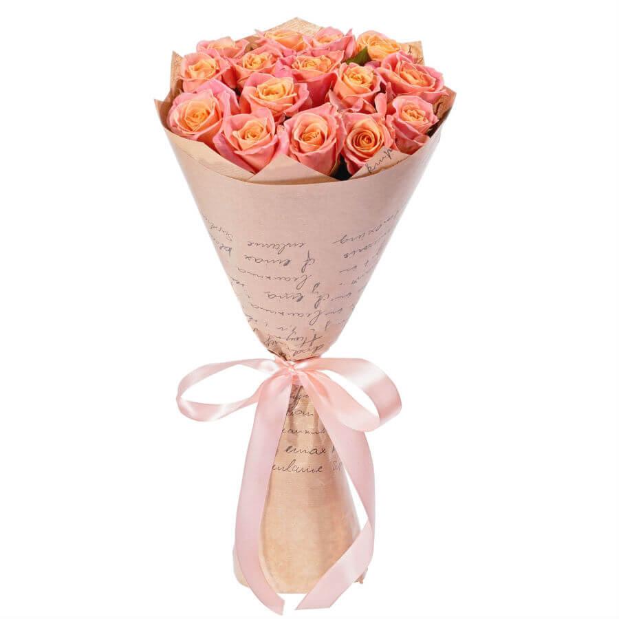15 персиковых роз купить доставка в Хмельницком