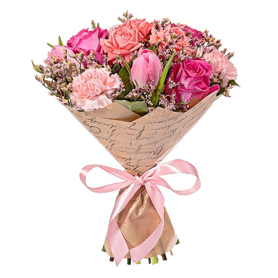 Цветов киев, букет с кустовыми розами и гвоздиками